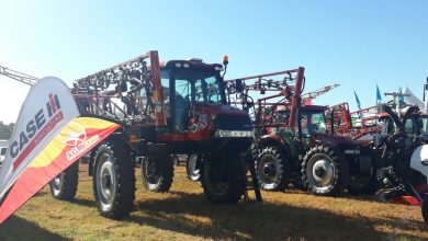 Photo of Case IH display at the 2019 ADMA Agrishow features the largest combine on sale in Zimbabwe